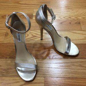 "Steve Madden Silver Ankle Strap 4"" Heels Realove"